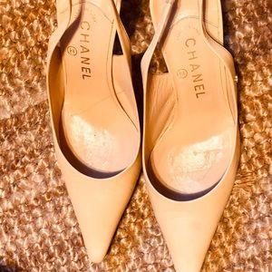 Coco Chanel Beige Sling Back Heels Size 38 1/2